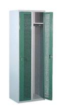99552205 Szafka ubraniowa perforowana, zamek ryglujący drzwi w 3 punktach, 2 drzwi (wymiary: 1800x600x490 mm)