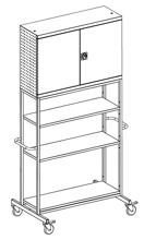 99552468 Szafka warsztatowa na kółkach, 3 półki, 2 drzwi (wymiary: 2500x1200x800 mm)