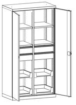 99552484 Szafa warsztatowa, 8 półek, 4 szuflady (wymiary: 1950x1000x540 mm)