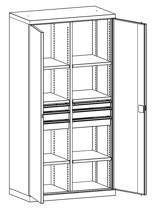 99552487 Szafa warsztatowa, 6 półek, 6 szuflad (wymiary: 1950x1000x540 mm)