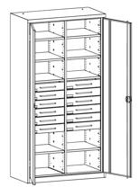 99552491 Szafa warsztatowa, 8 półek, 12 szuflad (wymiary: 1950x1200x500 mm)