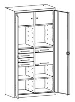 99552494 Szafa warsztatowa, 4 półki, 5 szuflad (wymiary: 1950x1000x500 mm)