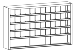 99552509 Szafa warsztatowa, 51 skrytek (wymiary: 900x1500x250 mm)