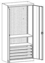 99552518 Szafa warsztatowa, 2 półki, 4 szuflady, 2 drzwi (wymiary: 1950x950x500 mm)