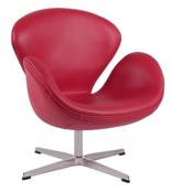 99851012 Fotel Cup inspirowany projektem Swan skóra (kolor: czerwony)