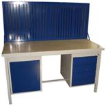DOSTAWA GRATIS! 13340636 Stół warsztatowy z jedną szafką uchylną i jedną czteroszufladową + tablica SW (wymiary: 1300x700x850 mm)