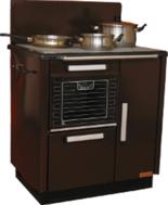 DOSTAWA GRATIS! 25915623 Kuchnia węglowa 9,2kW KATARZYNA z wężownicą, wylot spalin z tyłu z prawej strony (kolor: brązowy)