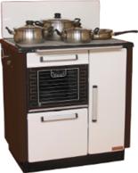 DOSTAWA GRATIS! 25942767 Kuchnia węglowa 9,2kW KATARZYNA z wężownicą, wylot spalin z boku z lewej strony (kolor: biały i brązowy)