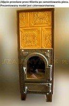 DOSTAWA GRATIS! 92238186 Piec grzewczy kaflowy 9kW Retro czterowarstwowy z szybą na drewno i węgiel (kolor: brąz)