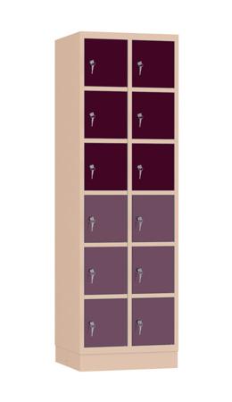 00141889 Szafa skrytkowa, 2 segmenty, 12 skrytek (wymiary: 1950x610x480 mm)