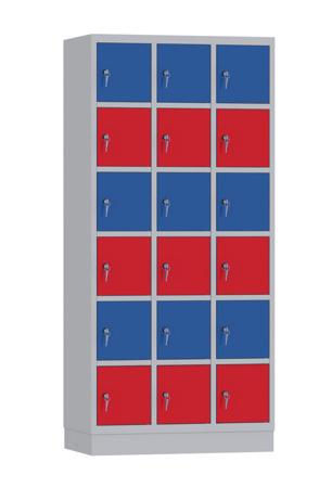 00141894 Szafa skrytkowa, 3 segmenty, 18 skrytek (wymiary: 1950x900x480 mm)