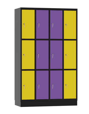 00141896 Szafa skrytkowa, 4 segmenty, 12 skrytek (wymiary: 1950x1190x480 mm)