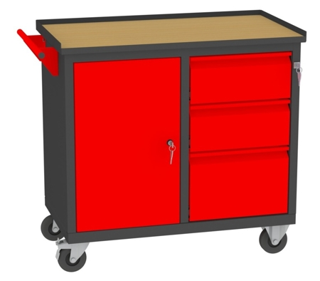 00142044 Wózek narzędziowy, 1 drzwi, 3 szuflady (wymiary: 860x950x505 mm)