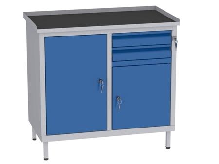 00142056 Szafka warsztatowa, 2 drzwi, 2 szuflady (wymiary: 850x900x505 mm)