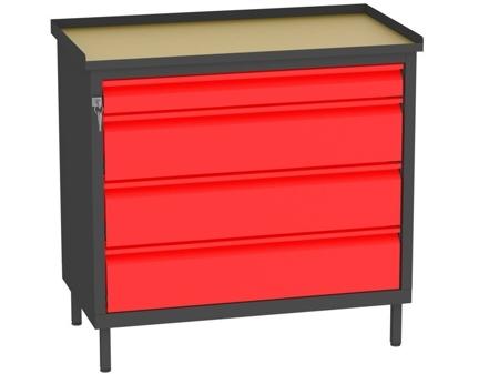 00142066 Szafka warsztatowa, 4 szuflady (wymiary: 850x900x505 mm)