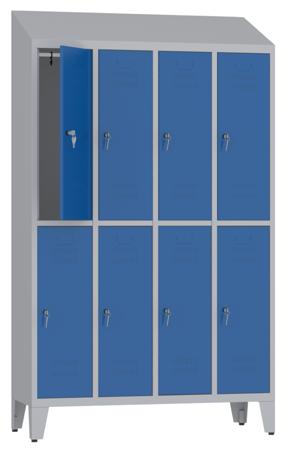 00150419 Szafa ubraniowa na nogach i daszek, 4 segmenty, 8 drzwi (wymiary: 2050x1190x480 mm)