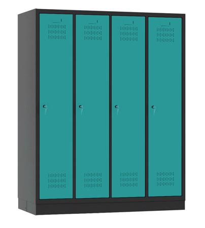 00150431 Szafa szkolna, 4 segmenty, 4 drzwi (wymiary: 1500x1190x480 mm)