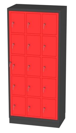 00150514 Szafa skrytkowa z drzwiami centralnymi, 3 segmenty, 15 skrytek (wymiary: 1950x865x480 mm)