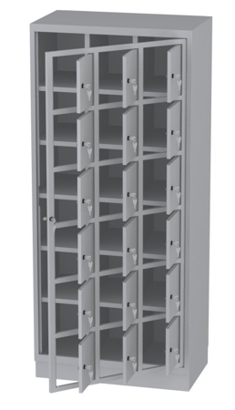00150515 Szafa skrytkowa z drzwiami centralnymi, 3 segmenty, 18 skrytek (wymiary: 1950x865x480 mm)