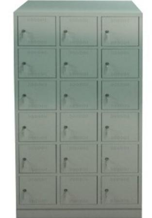 00150575 Szafa skrytkowa z daszkiem, 3 segmenty, 18 skrytek (wymiary: 2135x1200x480 mm)