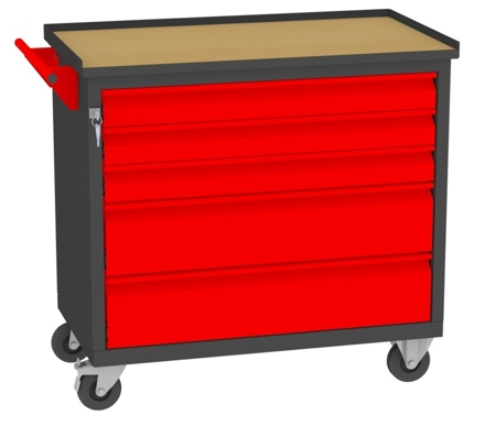 00150653 Wózek narzędziowy, 5 szuflad (wymiary: 860x950x505 mm)