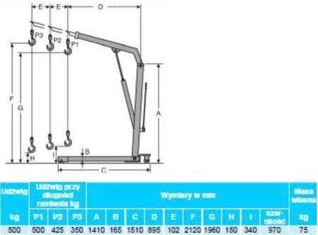 0301648 Żurawik warsztatowy przewoźny (udźwig: 500 kg)