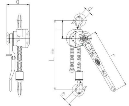 2202560 Wciągnik dźwigniowy z łańcuchem galla RZV/0.8t (wysokość podnoszenia: 1,5m, udźwig: 0,8 T)