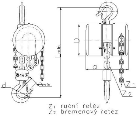 2202705 Wciągnik łańcuchowy z przekładnią planetarną Z100/7.5t (wysokość podnoszenia: 3m, udźwig: 7,5 T)