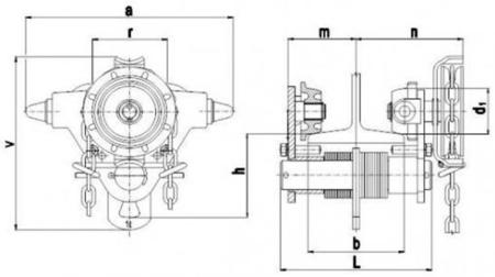 22038959 Wózek jedno-belkowy z napędem ręcznym Z420-A/1.0t/6m (wysokość podnoszenia: 6m, szerokość dwuteownika od: 50-113mm, udźwig: 1 T)