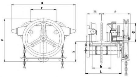 22038992 Wózek jedno-belkowy z napędem ręcznym Z420-B/3.2t/4m (wysokość podnoszenia: 4m, szerokość dwuteownika od: 106-226mm, udźwig: 3,2 T)
