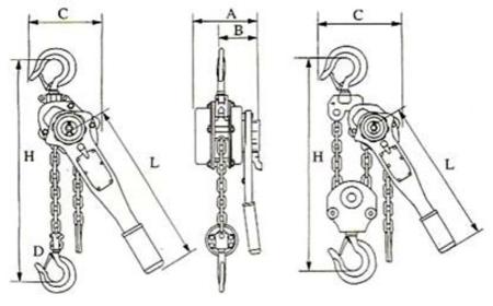 22043655 Wciągnik łańcuchowy z dźwignią ZKS 1,5 1,5M (wysokość podnoszenia: 1,5m, udźwig: 1,5 T)