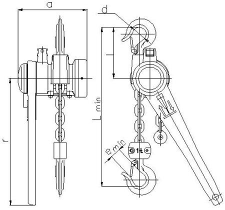 2209118 Wciągnik łańcuchowy dźwigniowy z łańcuchem ogniwowym Z310/0.5t (wysokość podnoszenia: 3,5m, udźwig: 0,5 T)