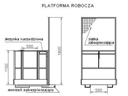 29046347 Platforma robocza PR80 dla 1 osoby (wymiary: 800 x 1200 x 1800 mm)