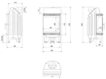 30040873 Wkład kominkowy 8kW Blanka BS (lewa boczna szyba bez szprosa)