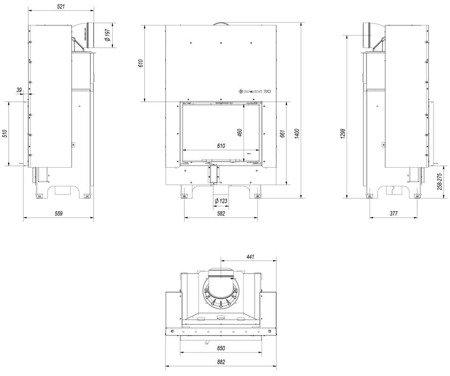 30053248 Wkład kominkowy 13kW MBZ 13 Gilotyna (szyba prosta, drzwi podnoszone do góry)