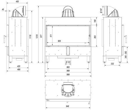 30054021 Wkład kominkowy 16kW LUCY 16 (szyba prosta)