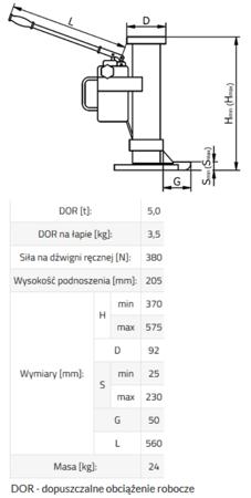 33917051 Podnośnik hydrauliczny BSE 5 (udźwig: 5 T)