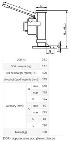 33917052 Podnośnik hydrauliczny BSE 25 (udźwig: 25 T)