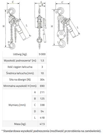 33948570 Wciągnik łańcuchowy MKS 9,0 3m (udźwig: 9000 kg, wysokość podnoszenia: 3 m)