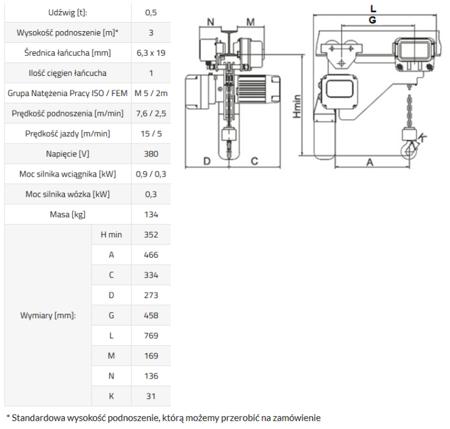 33948812 Wciągnik łańcuchowy elektryczny ELL 0,5 (udźwig: 0,5 T, wysokość podnoszenia: 3 m)
