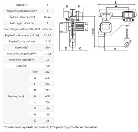 33948813 Wciągnik łańcuchowy elektryczny ELL 1 (udźwig: 1 T, wysokość podnoszenia: 3 m)
