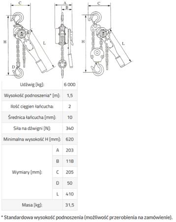 3398484 Wciągnik łańcuchowy GKS 6,0 (udźwig: 6000 kg, wysokość podnoszenia: 1,5 m)