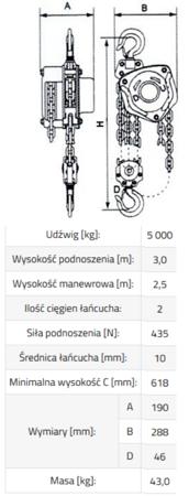 3398489 Wciągnik łańcuchowy SBE 5,0 (udźwig: 5000 kg, wysokość podnoszenia: 3 m)