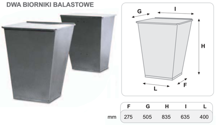55547227 Dwa zbiorniki balastowe do podstawy 300 kg