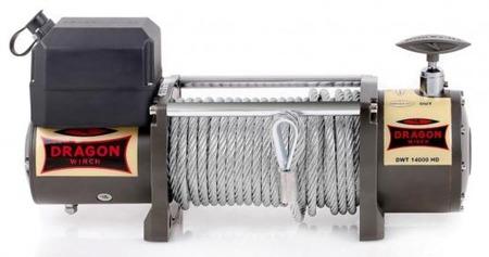 55946641 Wyciągarka samochodowa Dragon Winch Truck DWT 14000 HD 24V - wersja ze sterowaniem na silniku, z liną stalową 20m, hamulec dynamiczny (udźwig: 14000 lb/ 6350 kg, silnik: 7,8KM)