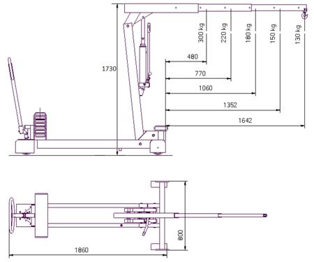 61755419 Żuraw hydrauliczny ręczny z przeciwwagą (udźwig: od 130 do 300 kg)