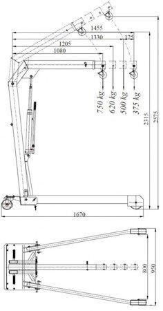 6177826 Żuraw hydrauliczny ręczny (udźwig: od 375 do 750kg)