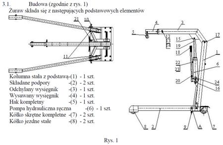 6177828 Żuraw hydrauliczny ręczny (udźwig: od 500 do 1000kg)