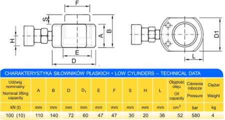 62753998 Siłownik płaski (wysokość podnoszenia min/max: 110-140mm, udźwig: 10T)
