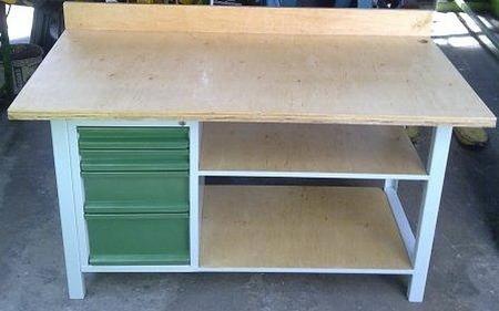 77156960 Stół warsztatowy, 2 półki, 4 szuflady (wymiary: 1600x800x900 mm)